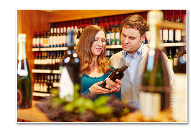 Couple in wine section